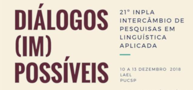 21º Intercâmbio de Pesquisas em Linguística Aplicada. São Paulo (Brasil)