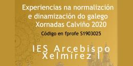Experiencias na normalización e dinamización do galego. Xornadas Calviño 2020. Santiago de Compostela