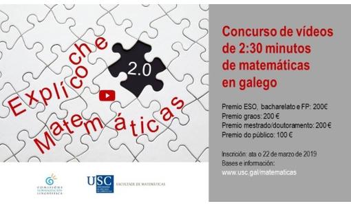 'Explícoche Matemáticas 2.0', o certame que premia os mellores vídeos en galego sobre conceptos matemáticos, entrega os seus galardóns